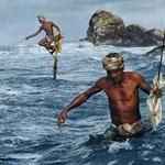 الصيد على العصى في سريلانكا.