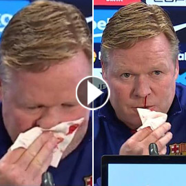 بالفيديو: أنف مدرب برشلونة ينزف دما فينسحب من مؤتمر صحافي